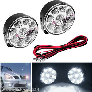 2x9 Led 12v Car Daytime Running Driving Light Drl Round Flood Beam Fog Work Lamp