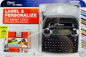 Brother Deluxe Label Maker Home Office Pt 1890w Two 12mm Tapes And Ac Adapter