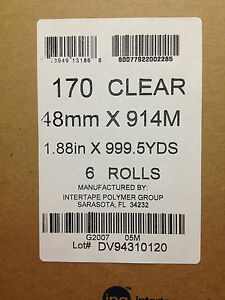6 Rolls 2 Clear Tape 1 88 X 999yds 170 Clear Box Sealing Shipping Packaging