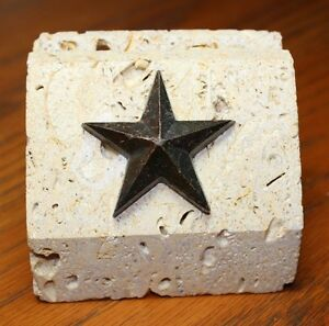 Genuine Texas Carved Limestone Metal Star Business Card Holder Heavy