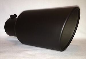 4 Inlet 7 Outlet 15 Long Flat Black Diesel Exhaust Tip Chevy Duramax