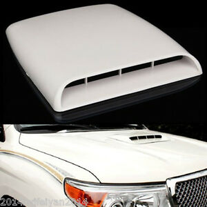 Auto Car Decorative Air Flow Intake Scoop Turbo Bonnet Vent Hood Cover White New Fits 2005 Ford Mustang