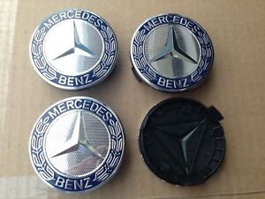 Mercedes Set Of 4 Dark Blue Center Wheel Hub Caps 75mm Cover Chrome Emblem