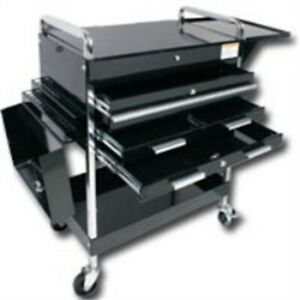 Sunex Tools 8013abkdlx Deluxe Service Cart With Locking Top 4 Drawers Black