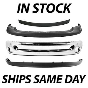 New Complete Front Bumper Combo Kit For 2002 2005 Dodge Ram Truck 1500 2500 3500