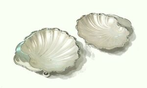 Vintage Silver Plate Shell Dishes Frosted Glass Liners U K Circa 1940