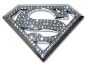 Superman Chrome Auto Emblem w austrian Crystals