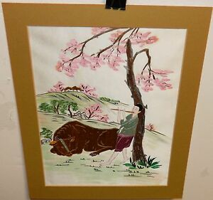 Chinese Embroidered Piper And Bull Silk Tapestry Unsigned