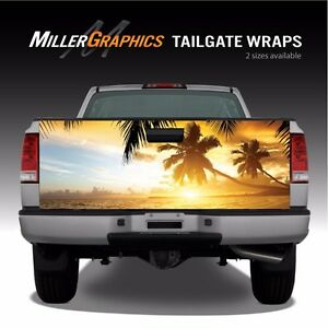 Beach Sunset Palm Trees Ocean Truck Tailgate Vinyl Graphic Decal Wrap