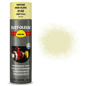 X3 Industrial Rust oleum Light Ivory Aerosol Spray Paint Hard Hat 500ml Ral 1015