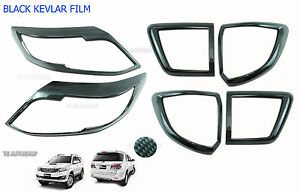 Fits Toyota Fortuner Suv 2012 13 15 Set Head Tail Lamp Light Carbon Cover Trim
