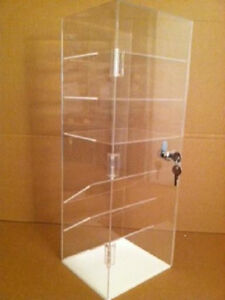 Acrylic Counter Top Display Case 8 X 7 X 22 5 Flat And Slanted Shelves