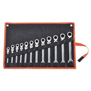 12 Pc 8 19mm Metric Flexible Head Ratcheting Wrench Spanner Combo Tool Set