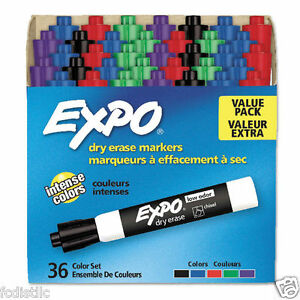 Expo Low Odor Dry Erase Marker Chisel Tip Assorted 36ct