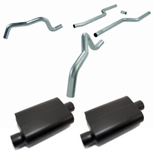 Flowmaster 1050 3 Header back Dual Exhaust Assault Mufflers 1967 1969 Camaro