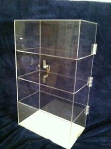 Acrylic Countertop Display Case 12 x7 x 17 5 Locking Security Show Case shelves