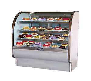 Leader Cvk48 48x35x50 inch Refrigerated Bakery Display Case Curved Glass Etl