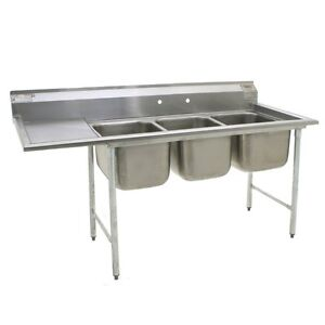 Eagle Group 412 16 3 18l Stainless Steel Commercial Compartment Sink With Three