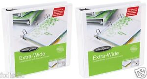 2 Wilson Jones Extended Cover Vinyl View Binders D ring 2 Inch White
