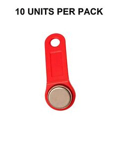 Red Keytabs Ibuttons Dallas Key For Ibutton Job Site Time Clock 10 Pack