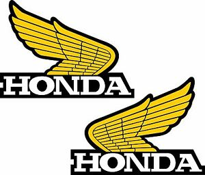 Honda Wings Set Of 2 Yellow Bike Motorcycle Retro Vintage Vinyl Sticker Decal