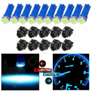 10pcs Pc74 T5 Led Bulb Ice Blue Twist Locks Instrument Panel Cluster Dash Light