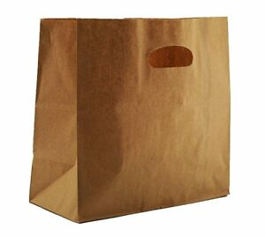 Safepro 84245 11x6x11 inch Kraft Paper Shopping Bag With Handles Die Cut 500