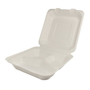 Karat Kebhc993c 9x9x3 inch Bagasse Hinged 3 compartment Container 200 piece Ca