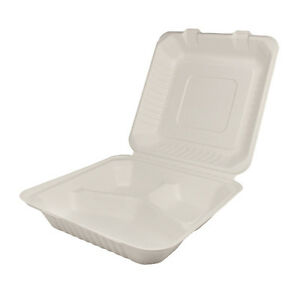 Karat Kebhc883c 8x8x3 inch Bagasse Hinged 3 compartment Container 200 piece Ca