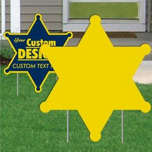 Corrugated Plastic 4mm Yellow Sign Blanks 25 bnl 22 Sheriff Star Shape