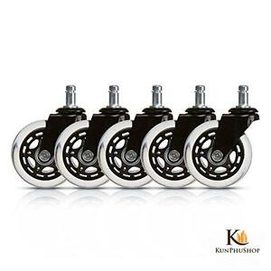 Office Chair Caster Replacement Wheels Protect Floors Rollerblade Style Set Of 5