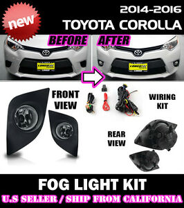 For Toyota 14 15 16 Corolla Fog Light Driving Lamp Kit W Switch Wiring Clear