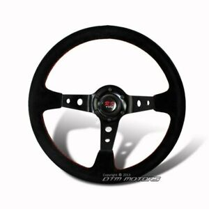 Jdm 350mm Deep Dish Style 6 holed Black Suede Leather Steering Wheel Universal D