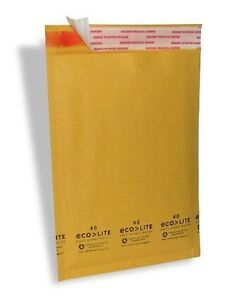 250 0 6 5x10 Ecolite Kraft Bubble Mailers Padded Envelopes Bag Self Seal Cd Dvd