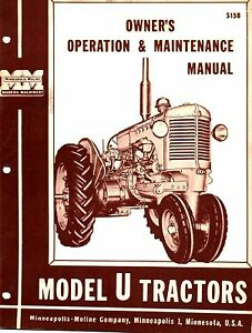 Minneapolis Moline U Ut Tractor Operator s Manual Reproduction