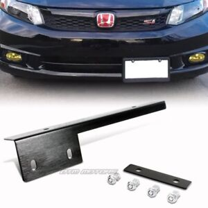 Black Brushed Aluminum Front License Plate Relocate Mounting Bracket Universal B