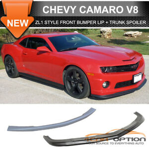 Fits 10 13 Chevy Camaro V8 Zl1 Style Pu Front Bumper Lip Abs Trunk Spoiler
