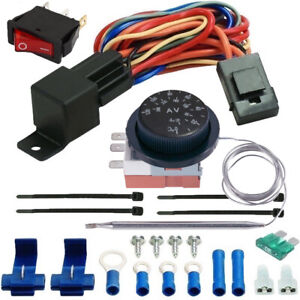 Adjustable Thermo stat Control ler Electric Cooling Fan Relay Wiring Switch Kit