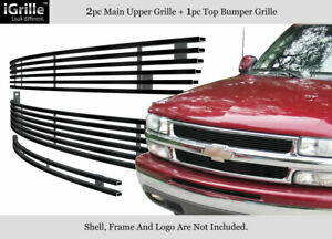 For 1999 2002 Chevy Silverado 1500 00 06 Tahoe Stainless Black Billet Grille