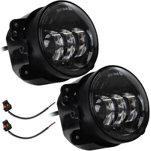 2pcs 4 12v Led Front Driving Fog Spot Light Round Lamp Jeep Wrangler Vehicle