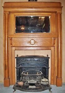 Antique Tiger Oak Mantel With Two Columns And Beveled Glass Mirror