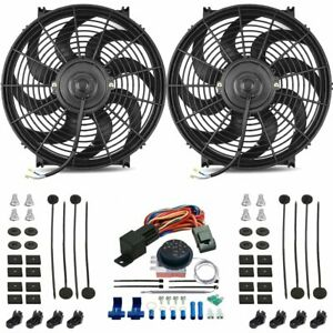 Dual 14 Inch Electric Radiator Fan S Adjustable Thermostat Control Switch Kit