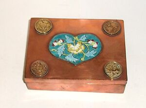 Chinese Copper Cloisonne Repousse Heart Shape Enamel Wood Lined Humidor Box