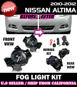 For Nissan Altima 10 11 12 Fog Light Driving Lamp Kit W Switch Wiring Clear
