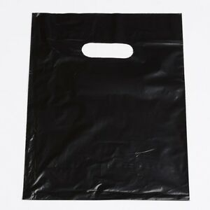 Plastic Shopping Bags 1000 Black Gift Low Density Merchandise Handles 12 X 15