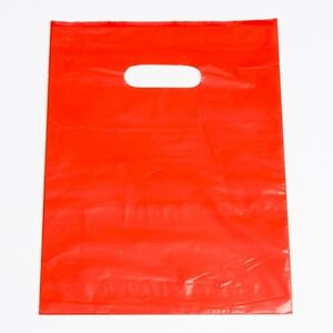 Plastic Shopping Bags 1000 Red Low Density Merchandise Diecut Handles 12 X 15