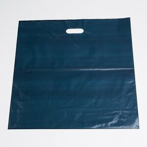 Plastic Shopping Bags 500 Navy Low Density Merchandise Diecut Handles 20 X 20