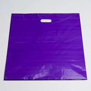 Plastic Shopping Bags 500 Purple Low Density Merchandise Diecut Handles 20 x20