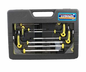 Astro Pneumatic 1026 Metric T 4 Handle Ball Point And Hex Key Wrench Set 9 Pc