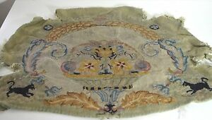 Gorgeous Antique French Hand Woven Floral Tapestry Piece Ss35